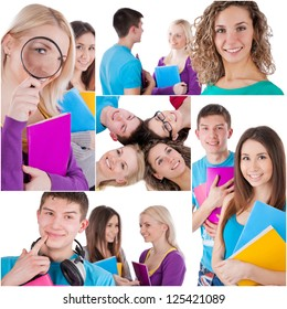 Cheerful high school students over white background