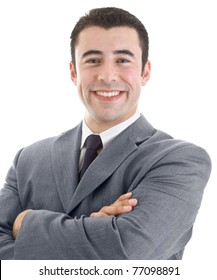 Cheerful Hispanic business man against a white background