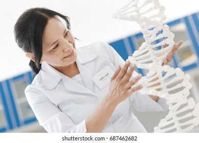 Cheerful intelligent scientist touching the DNA model