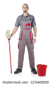 Cheerful janitor isolated on white
