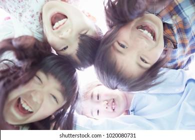 Cheerful japanese elementary school student