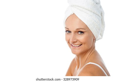 Cheerful lady after a spa session