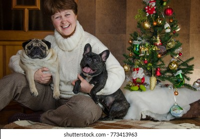 cheerful lady embraces, hug black, active french bulldog.and beige, fawn pug. Happy woman looks to the camera. two pets, dogs and dog-owner near christmas tree. dogman, dog lover at new year holidays