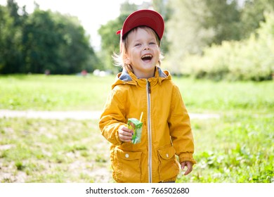 Cheerful little boy with a box of juice walks in the Park.