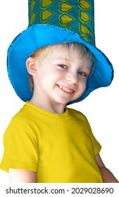Cheerful little boy in a carnival hat on a white background. Portrait
