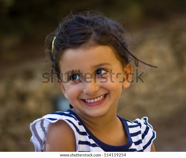 cheerful little girl and happy
