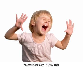 Cheerful little girl isolated on white, studio shot