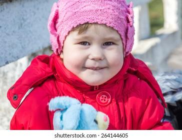 cheerful little girl playing