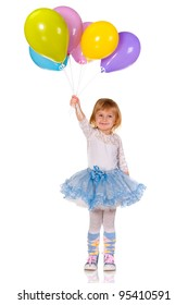 A cheerful little girl is playing with balloons; isolated on the white background