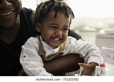 Cheerful little kid in a hospital