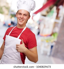 Cheerful Male Chef With Thumbs Up, Outdoor
