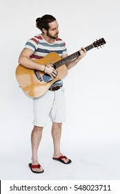 Cheerful Male Play Guitar Concept