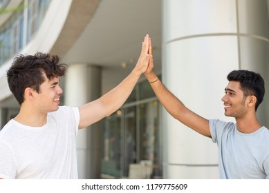 Cheerful male student friends greeting with hi-five gesture. Portrait of young Indian and Hispanic men giving high five outdoors. Success and friendship concept