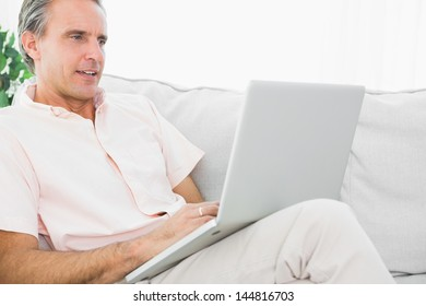 Cheerful man on his couch using laptop at home in living room
