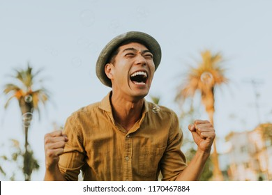 Cheerful man in the park