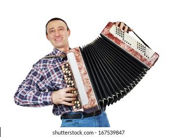 Cheerful man plays harmonica