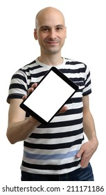 Cheerful man showing tablet computer screen over white background