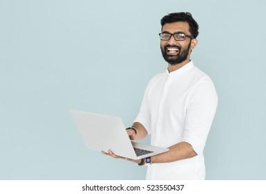 Cheerful Man Technology Gadget Concept