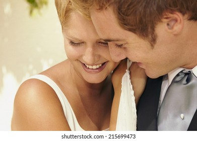 Cheerful married couple at their wedding full of love