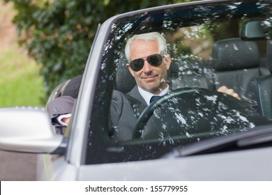 Cheerful mature businessman driving classy cabriolet on sunny day
