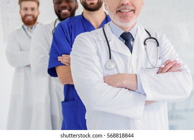 Cheerful medical team expressing positive emotions