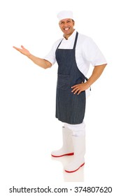 cheerful middle aged chef presenting empty space on white background
