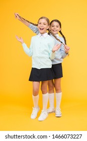 Cheerful mood concept. My dear friend. First school day. Sisterhood and friendship. School friendship. Support and friendship. Friendly relationship. Friendship goals. Cute school girls classmates.
