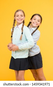 Cheerful mood concept. School friendship. Support and friendship. Friendly relationship. Friendship goals. Cute school girls classmates. My dear friend. First school day. Sisterhood and friendship.