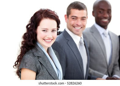 Cheerful multi-ethnic business people in a meeting against a white background