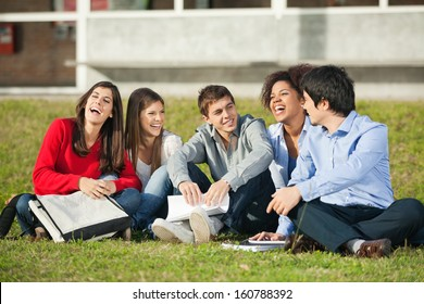 Cheerful multiethnic college students sitting on grass at campus