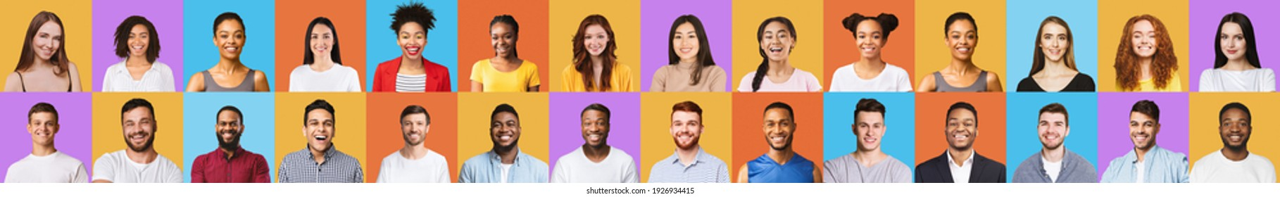 Cheerful Multiracial Millennials Portraits With Smiling Face Of Young People Posing Over Bright Colored Backgrounds. Different Happy Female And Male Faces, Headshots Collage. Panorama