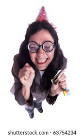 Cheerful nerd woman (mature woman on 40s) portraying a successful businesswoman - similar available