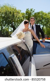 Cheerful newly wed couple getting in the car