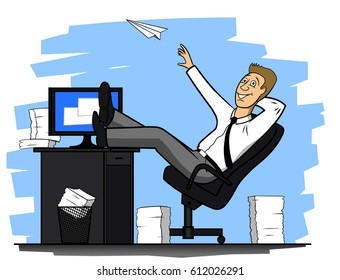 Cheerful office worker throwing a paper airplane