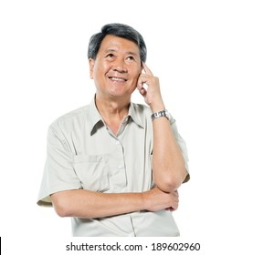 Cheerful Old Asian Man Thinking