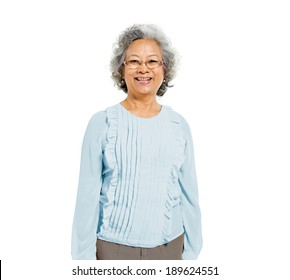 Cheerful Old Casual Asian Woman