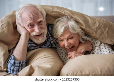 Cheerful old married couple lying in bed under blanket. Woman is laughing and man is looking at camera with smile. Concept of happiness