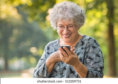 Cheerful old woman excited on receiving some good news over smartphone. Happy senior woman at park using mobile phone. Cute elderly woman receive a message phone for her beloved.