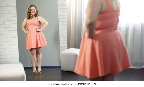 Cheerful overweight young lady smiling at her reflection, body positivity