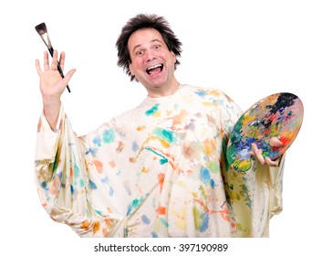 Cheerful painter with brush and palette. Crazy artistic painter with a color palette and brush isolated on a white background. Funny artistic painter greeting with brush. Greeting from the painter.