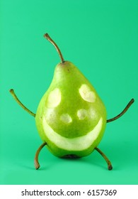 cheerful pear on green background