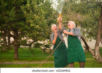 Cheerful people and water hose. Couple of seniors in garden.