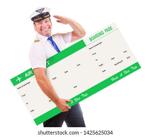 A cheerful pilot hold air ticket and salute with his hand, isolated on white background. Captain of air plane with large boarding pass.