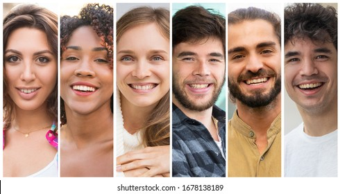 Cheerful positive young men and women of different races portrait set. Black, Caucasian, mix raced people multiple shot collage. Positive human emotions concept