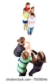 Cheerful preschooler teams pulling rope, over white