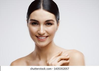 Cheerful pretty woman skin care cosmetics health lips nature model