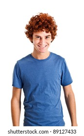 Cheerful redhead young guy isolated on white
