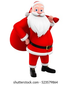 Cheerful Santa Claus isolated on white background with a big bag. 3d render illustration. Illustration for advertising.