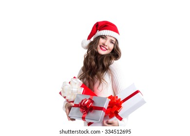 Cheerful santa helper woman holding gift Isolated on white background.