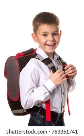 Cheerful school boy with backpack, ready to school on white background